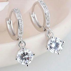 NEW 925 SOLITAIRE DIAMOND DROP HOOP EARRINGS